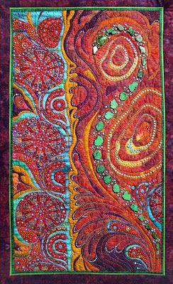 """Tenuous Membrane"" ~ Thom Atkins. Amazing beaded quilt."