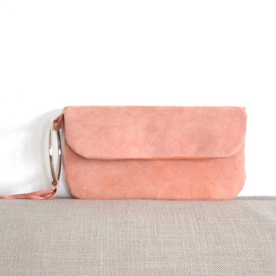 Lederclutch in Apricot, rosa Handtasche zum Ausgehen, Partytasche / leather clutch in apricot, light pink handbag, party bag made by donee via DaWanda.com