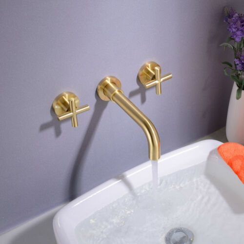 Details About Brass Bathroom Wall Mounted Basin Swivel Faucet Sink Mixer Tap Brushed Gold With Images Wall Mounted Basins Wall Mount Faucet Bathroom Sink Mixer Taps