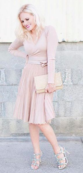 Wrap pleated dress