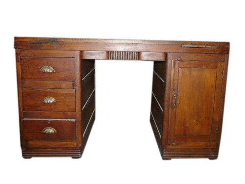 teak wood carved desk antique furniture 3 drawer rolling storage office table ebay antique office table