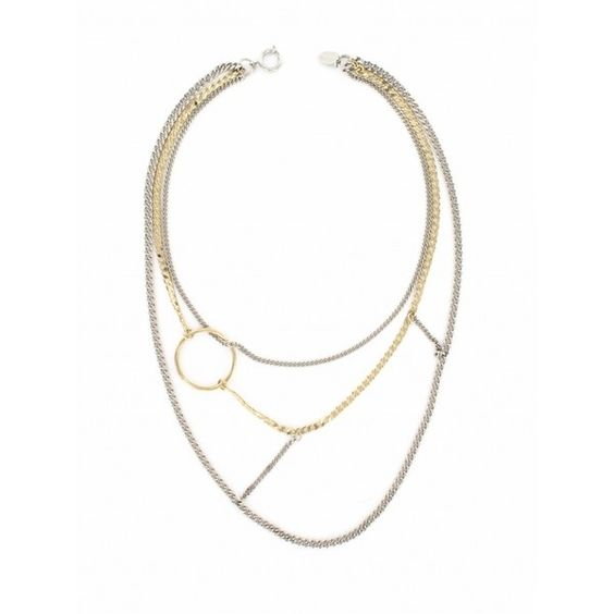 Justine Clenquet Nico 24k Gold And Palladium-plated Necklace (2.239.470 IDR) ❤ liked on Polyvore featuring jewelry, necklaces, gold and silver, 24k gold jewellery, yellow gold necklace, 24 karat gold jewelry, gold necklace and 24-karat gold jewelry