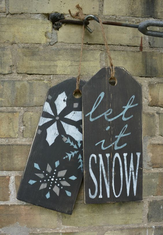 Let It Snow Sign Rustic Winter Decor Holiday Front Door