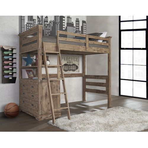 Ne Kids 7104 320nlc Oxford Cocoa Twin Loft With 4 Drawer Chest End Bellacor Twin Loft Bed Hillsdale Furniture Loft Bed