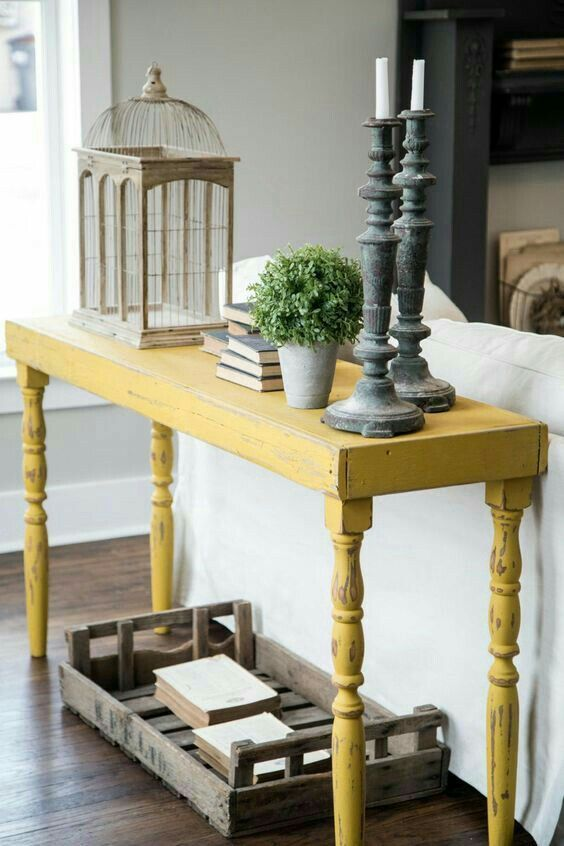 Gorgeous Mustard Yellow Sofa Table Perfect For A Farmhouse Living Room Sofa Table Decor Table Behind Couch Decor
