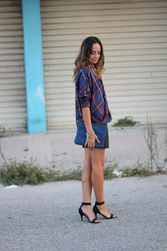 Zara checked shirt & leather shorts  www.thefashioncarousel.com