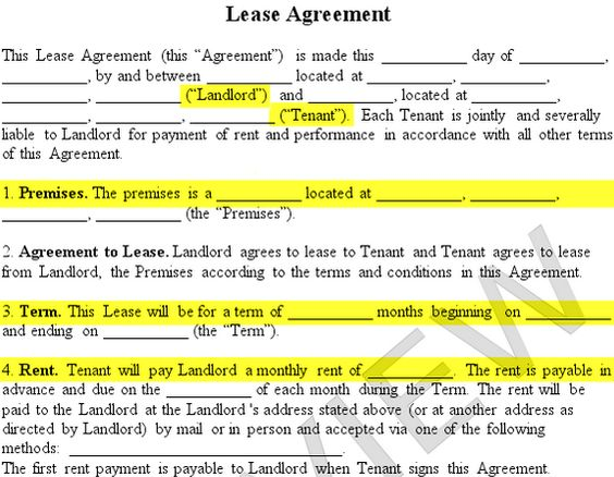 lease agreement form premises landlord tenant rent term Rentals - what is a lease between landlord and tenant