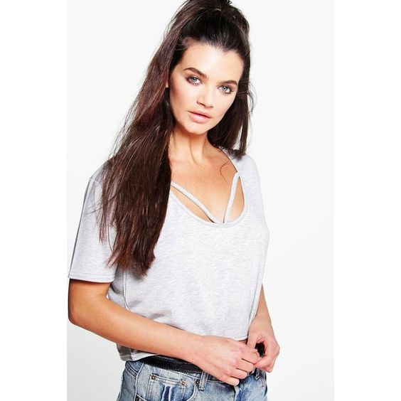 Boohoo Eva Strappy Front Oversized Crop Tee ($14) ❤ liked on Polyvore featuring tops, t-shirts, grey, white crew neck t shirt, crew neck t shirt, ribbed tee, long sleeve t shirt and long sleeve tee