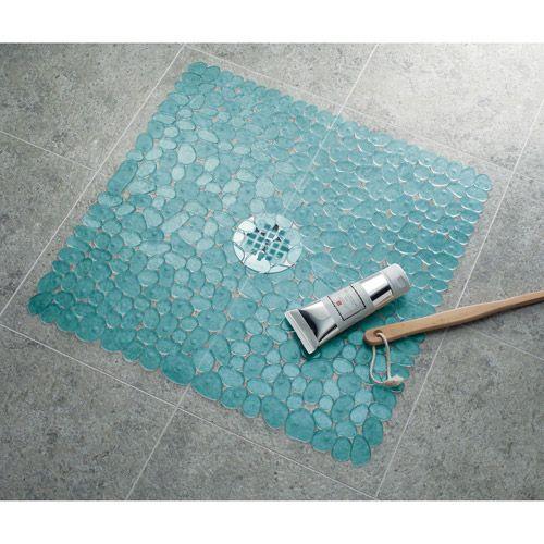 InterDesign Pebblz Square Shower Mat Colors Squares And Dorm - Square bath rug for bathroom decorating ideas