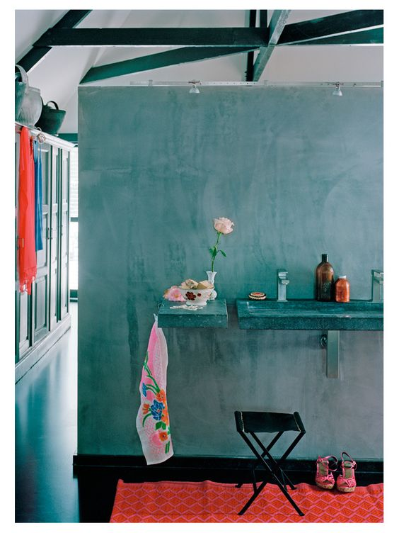 turquoise. I like the uneven paint on the wall.
