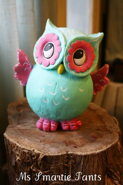 Cute owl~ Ms Smartie Pants ~: Whoooo Whoooo, look at my little painted owl