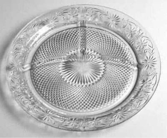 Indiana Glass Clear DAISY Divided Grill Plate/s  pattern #620 Made 1940-1960