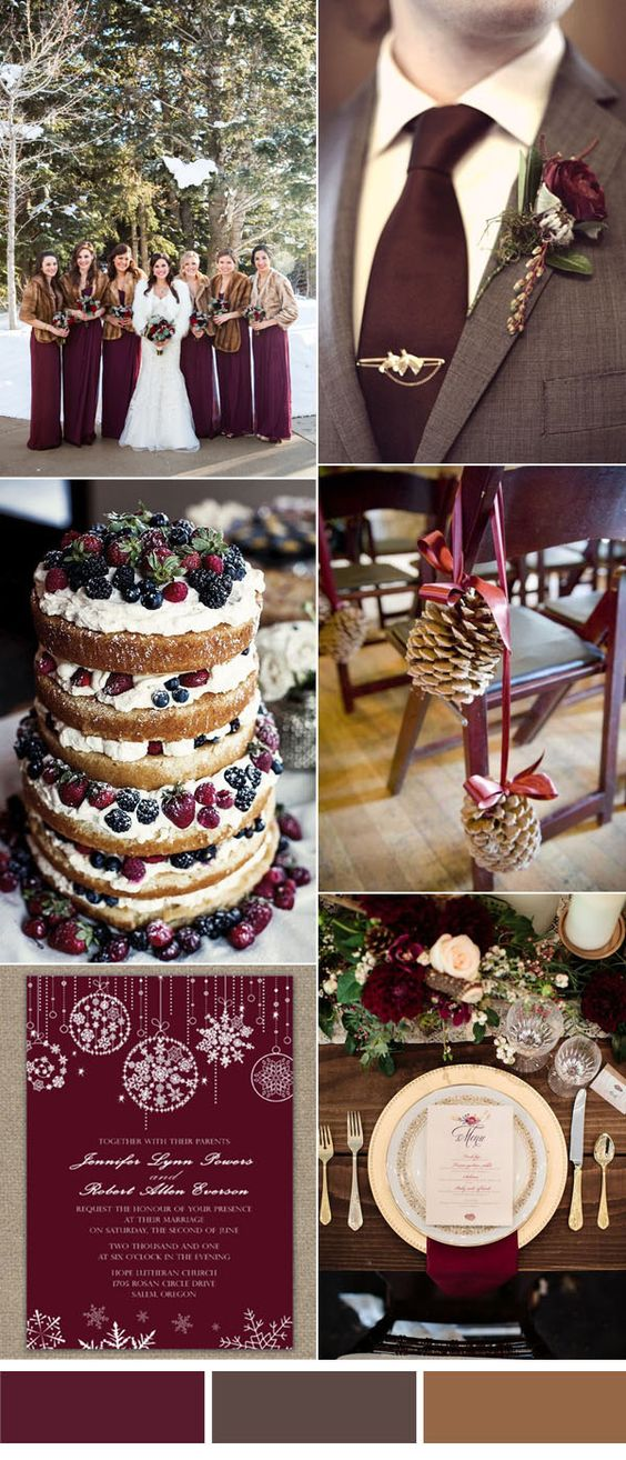 burgandy accogliente invernali idee di colore di nozze: