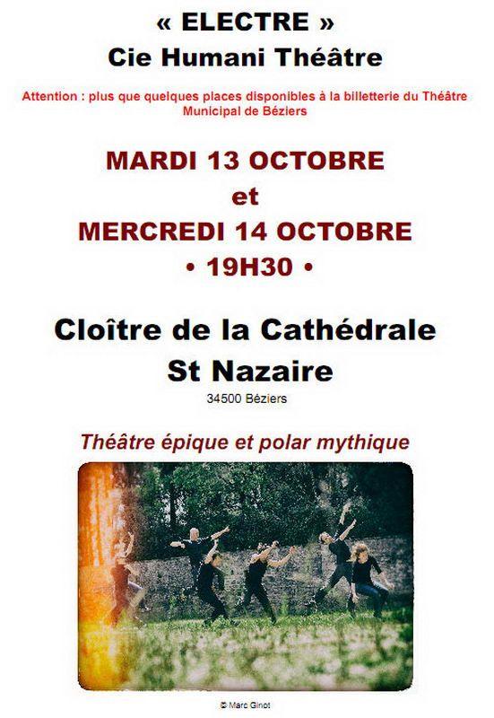 « ELECTRE » les MARDI 13 OCTOBRE et MERCREDI 14 OCTOBRE à Béziers