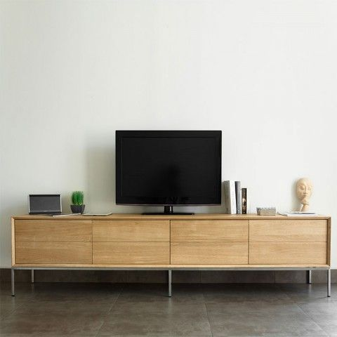 Meuble Tv 2 Tiroirs 2 Portes Kubico Chene Massif Mobilier De Salon Meuble Tv Grand Meuble