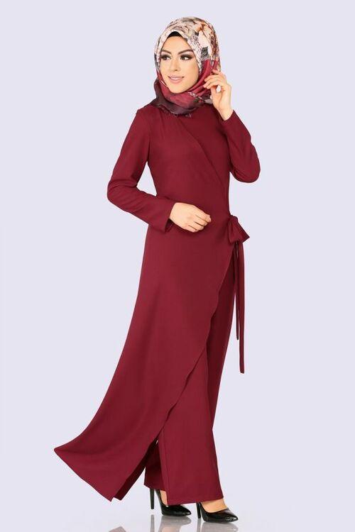 Modaselvim Tulum Yandan Baglamali Tesettur Tulum 5558mp186 Bordo Fashion Dresses High Neck Dress