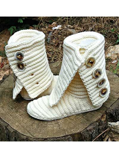 Stylish and trendy, these boots can be worn outside as this pattern not only teaches you how to crochet the boot, but also how to create a rubber outer sole using a premade flip-flop, as well as comfy inner sole. The boots are crocheted in 2 pieces and joined together using worsted-weight yarn and a size G hook. Includes instructions for shoe sizes 5 (6, 7, 8, 9, 10, 11, 12).