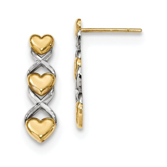 14k \ Rhodium Polished Triple Heart \ X Post Earrings FREE - refund policy