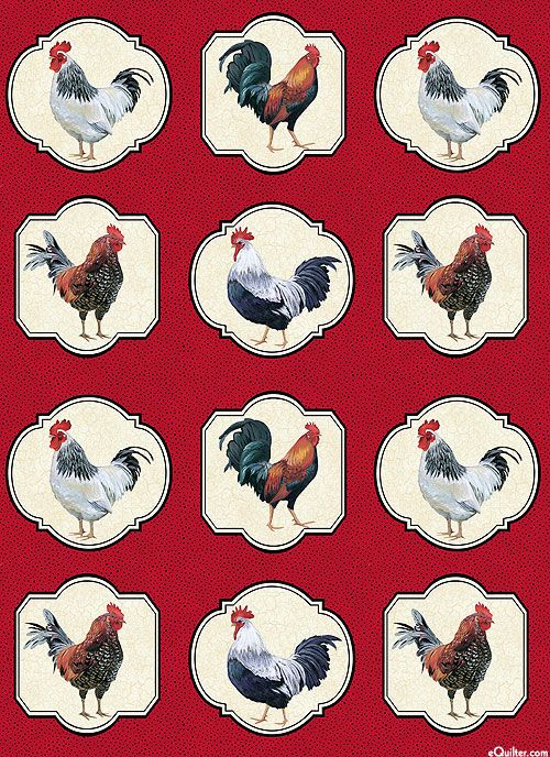 "Cock a Doodle Doo - Prize Roosters - Dk Red - 24"" x 44"" PANEL:"