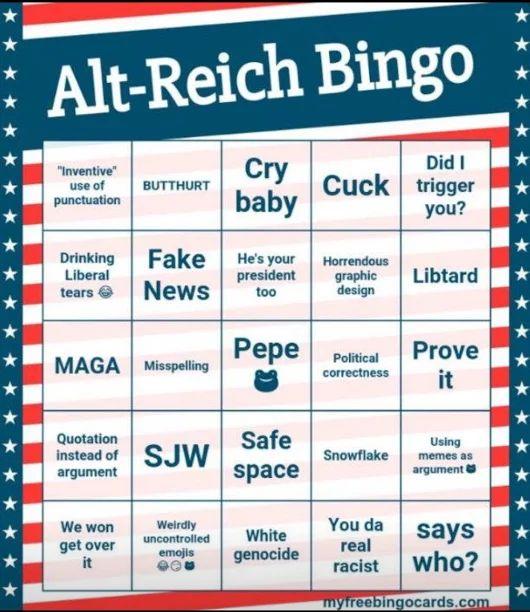 Image result for alt reich bingo