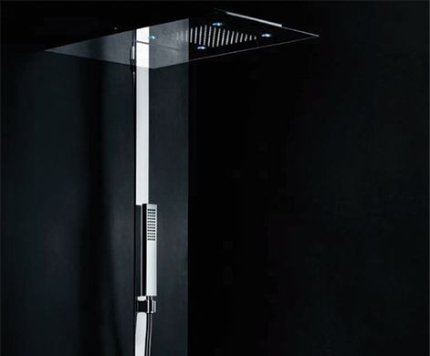 """MINIMAL AMBIENTE Slim and modern, this column is at the pinnace of technology and design. With touch screen controller, led lights and 2mm ultra-flat profiles are indicative of this hi-tech collection.  The shower head has a single cascade, non-liming silicon rainfall jets (anti-drip) and 4 chromotherapy lights. Supplied with 'acquaring' for low pressure, high performance. Thermostatic electronic mixer, touch screen control display 4.7"""", rectangular hand shower with holder, stainless steel…"""