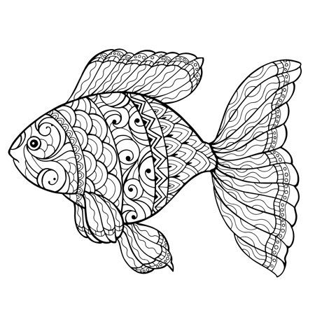 Mandala Fish Giant Wall Size Coloring Poster Peel And Stick 30 X 27 Size 30 5 Black Fish Drawings Color Hand Painting Art