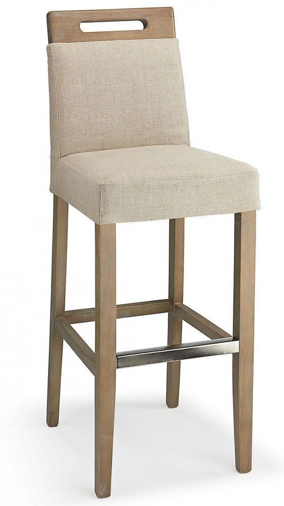Modern Fabric Bar Stool Wooden Kitchen Hotel Bar Seat Cream High Chair Backrest Fabric Bar Stool Bar Stools White Dining Chairs