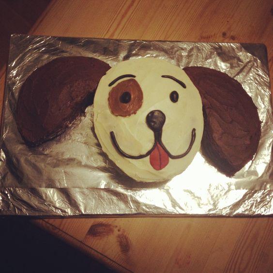 Birthday cake chocolate vanilla homemade puppy dog children's kids party