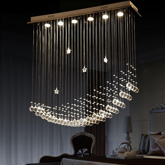 byb modern chandelier rain drop lighting crystal ball fixture pendant ceiling lamp moon beautiful funky dining room lights