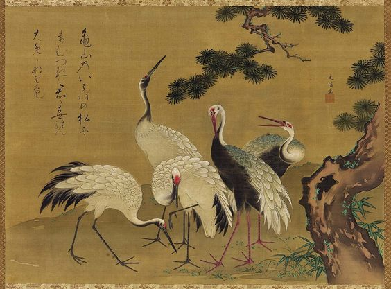 Cranes and Pine Tree 松に鶴図.  Japanese Edo period, latter half of the 18th century. Kano Mitsunobu (Japanese, dates unknown).