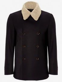 John Lewis & Co. Made In England Removable Shearling Collar Peacoat Navy