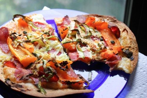 Spicy bacon and summer vegetable tortilla pizza