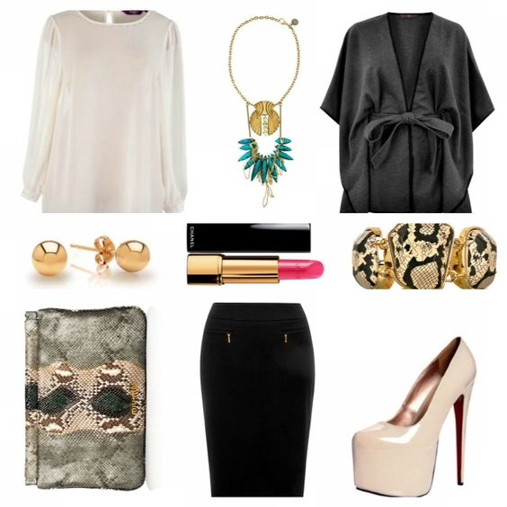 Business Savvy   ** Plus Size**  The Business Savvy  plus size diva brings style with her where ever she goes and the office is no exception.  Cape: Evans  Skirt: Evans  Blouse: New Look  Shoes: Boohoo  Clutch: Miu Miu