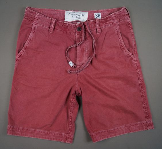 Abercrombie & Fitch Men s Vintage Shorts Red Size UK 36 Cotton Good Quality!