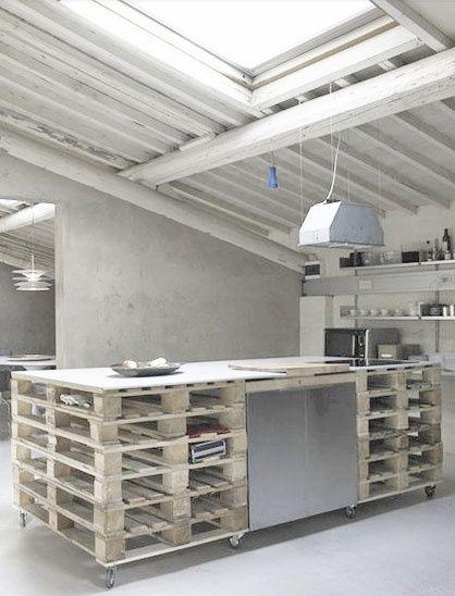 szafki kuchenne z palet,wyspa kuchenna z palet,aranzacja szarej kuchni,aranżacja tarasu,stoliki z palet,palety na kółkach,drewniane skrzynki,dtolik z drewnianej skrzynki,aranzacja ze skrzynką i fotelem,meble z palet,aranżacje z paletami,meble z recyklingu,pomysły z paletami,jak urządzić wnętrze z paletami,siedziska z palet,sofa z palet,aranżacja w szarym kolorze,ozdobne szare poduszki: