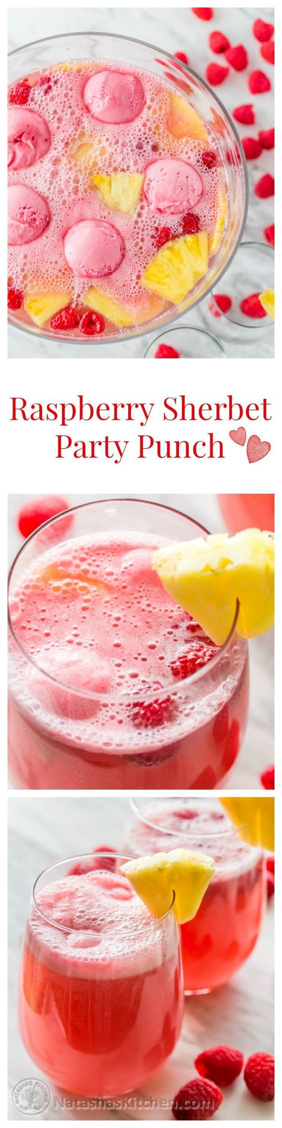 Raspberry Sherbet Party Punch Recipe via Natasha's Kitchen - This Sherbet Party Punch is perfect for potlucks, baby showers & other gatherings! #mocktails #virgindrinks #alcoholfreedrinks #nonalcoholicdrinks #familyfriendlydrinks #partypunch #partydrinks #newyearseve #partydrinkrecipes