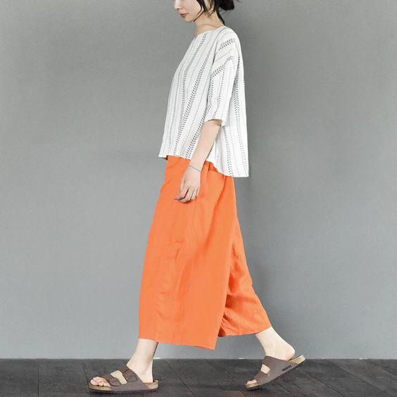 Orange width leg pants