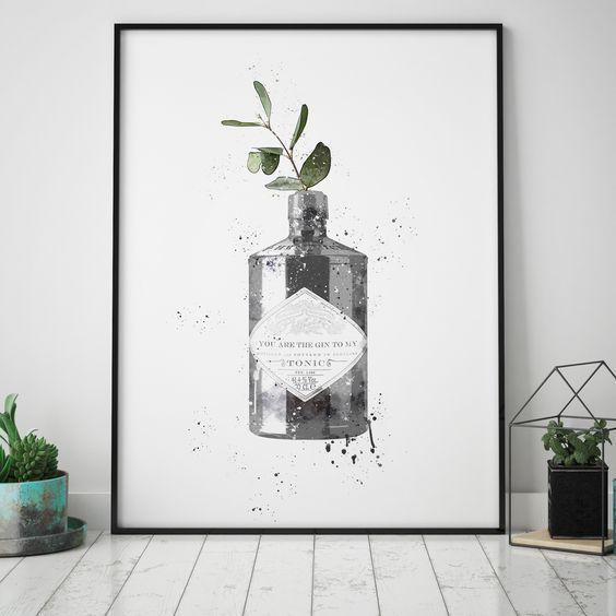 Botanical Gin Print Set of 2 Gin Quote Kitchen Decor Hendricks Gin Wall Art