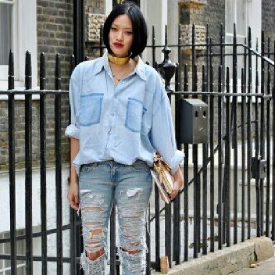 """@likeabite's photo: """"#StreetStyle #LFW #London #FashionWeek #LaneCrawford #stylist #TiffanyHsu in all #Denim #Fashion #Style"""""""
