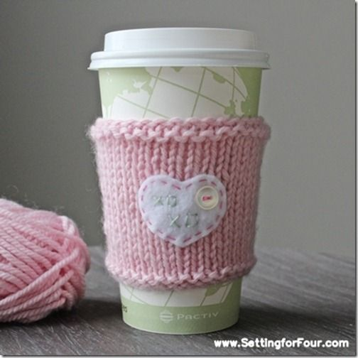 DIY Quick Knit Cup Cozy with heart xoxo message! Great gift idea!