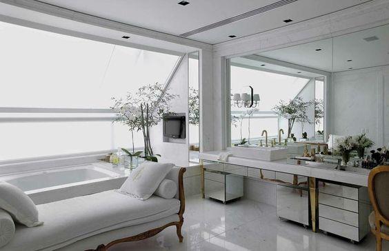 Decor Salteado - Blog de Decoração e Arquitetura : 25 Banheiros com bancadas de maquiagem - veja modelos lindos e modernos!