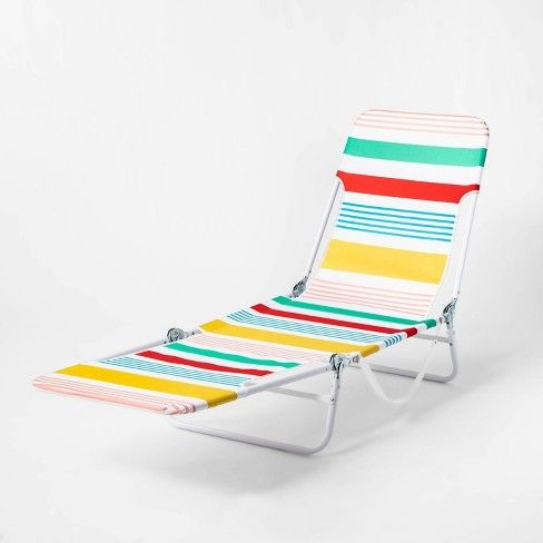 Variegated Stripe Outdoor Beach Lounger Red Yellow Blue Sun Squad Target Lounger Summer Pool Party Red Yellow