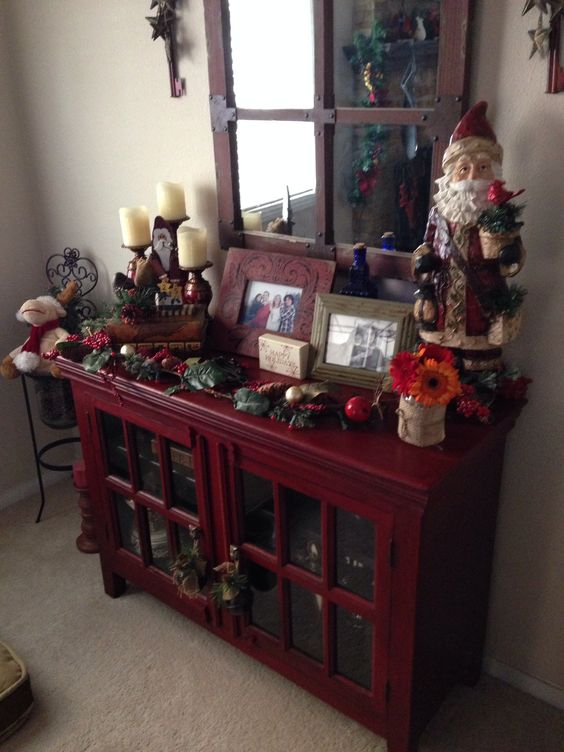 Crate and barrel cabinet decorated for Xmas
