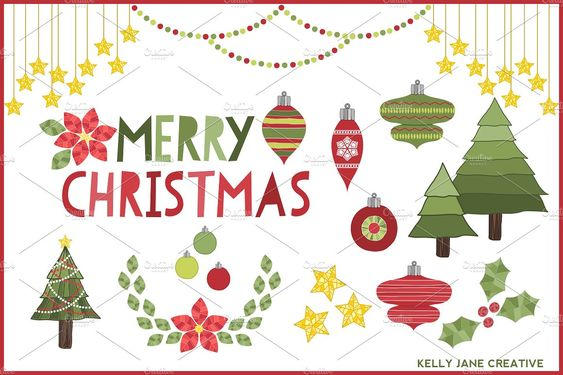 Christmas Decorations Clipart by Kelly Jane Creative on @creativemarket