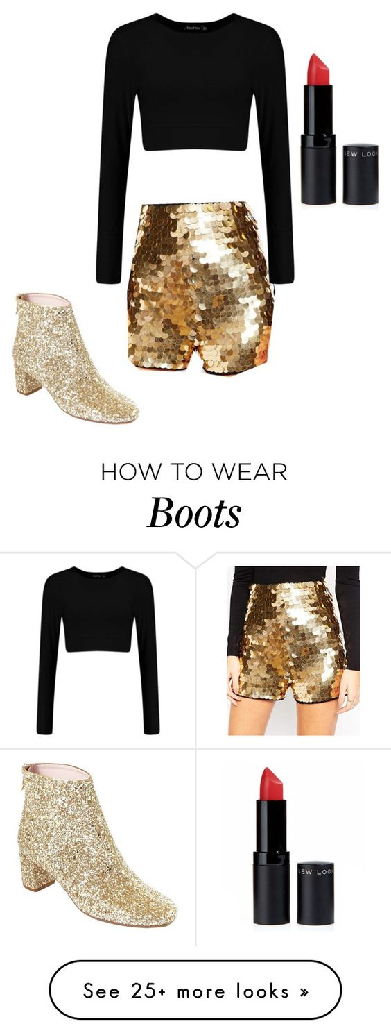 """""""Kate Spade New York Tal Ankle Glitter Boots"""" by ashleymmck on Polyvore featuring ASOS, Kate Spade and New Look"""