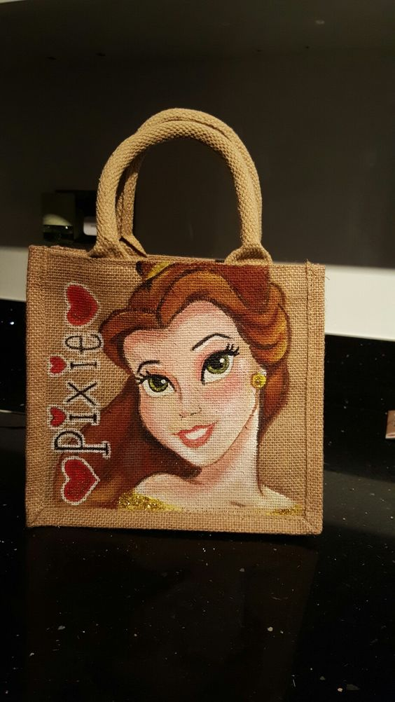 Disney Belle beauty and the best jute bag hand painted by Drews Jutes