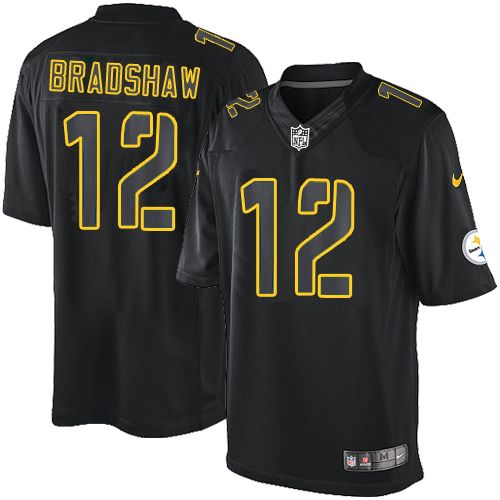 ... Limited Nike Womens Youth Terry Bradshaw Mens Elite Black Jersey Nike  NFL Pittsburgh Steelers Impact 12 ... caf962352