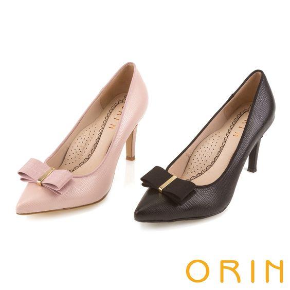 ORIN 典雅時尚女人 織帶蝴蝶結蜥蝪壓紋尖頭高跟鞋-粉紅 - Yahoo!奇摩購物中心