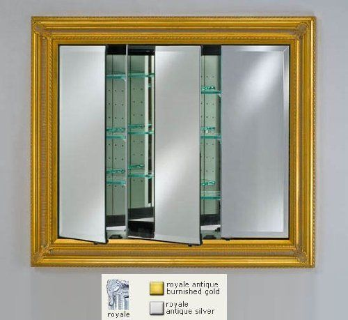 Afina Corporation Td4234rroysv 42 In X 34 In Recessed Triple Door Cabinet Royal Antique Silver By Afi Recessed Medicine Cabinet Beveled Mirror Mirror Designs