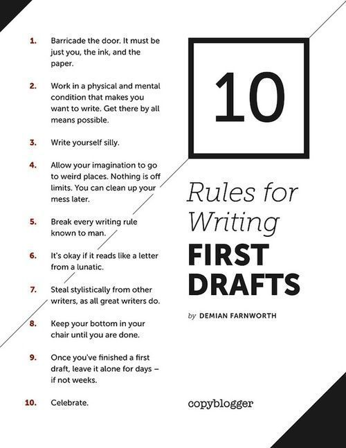 10 Rules For Writing First Drafts How To Write A Book How To Write A Novel Novel Writing Book Writing Tips Writing A Book Writing Tips